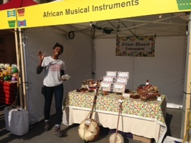 Natalie at the 'African Musical Instruments' stall at Africa on the Square, Mayor of London event for Black History Month on Sat 11th October, Trafalgar Square, 2014.
